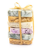 Beauty pile of handmade soap \ isolated on white