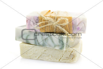 Three pieces of handmade soap \ isolated on white