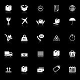 Shipping icons with reflect on black background