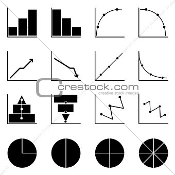 Applied graph icons on white background