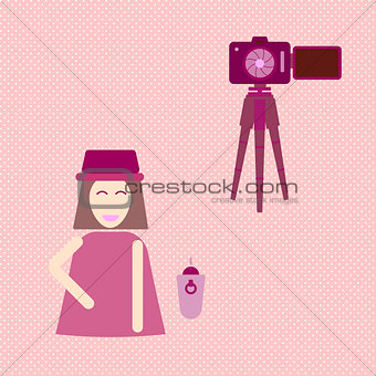 Camera shooting portrait yourself concept