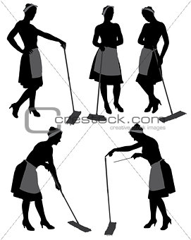 Adult cleaner maid woman silhouette
