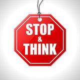 Stop and think label