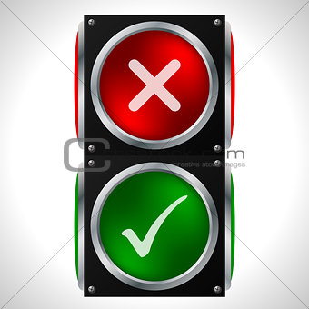 Tick cross symbols on traffic light