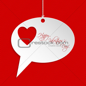 Valentine greeting card design with speech bubble