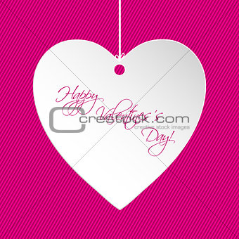 Valentine greeting card design with white heart