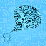 Silhouette of Human Head with Media Icons in Bubble Chat