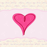 Pink Heart Valentine's Card on Hand Writing Text