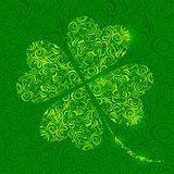 Lucky  Shamrock from Abstract Curl Pattern Silhouette