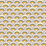 Yellow Hand-Drawn Rainbow and Clouds Doodle Background.