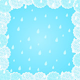 Light Blue Fluffy Cloud Frame with Rain Background