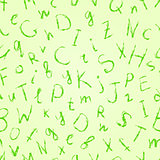 Green Drawn Letter Seamless Pattern