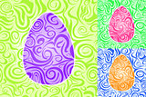 Easter Abstract Swirl Seamless Pattern Set