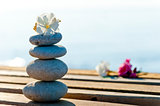 beautiful stones and flowers on a wooden pier