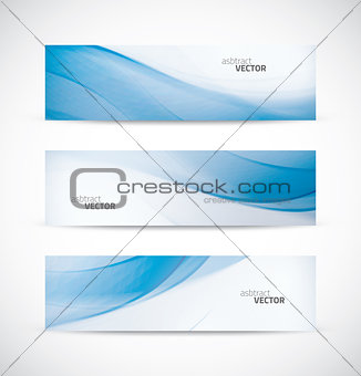 Three abstract blue business wave banner header backgrounds vector eps10
