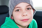 closeup of cute young eleven years boy