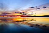 Sunset. Lake Pongomozero, North Karelia, Russia