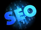 SEO on Dark Digital Background.