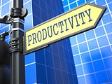 Productivity Word on Yellow Roadsign.