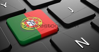 Portugal - Flag on Button of Black Keyboard.