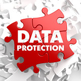 Data Protection on Red Puzzle.