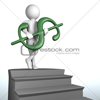 3D man at the top of the stairs holds green dollar sign