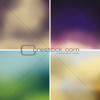 Abstract colorful blurred vector backgrounds set 12