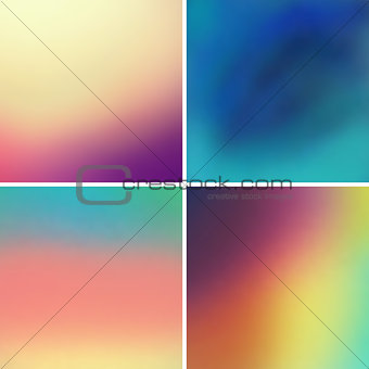 Abstract colorful blurred vector backgrounds set 9