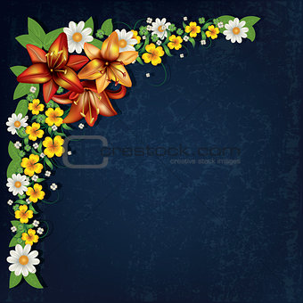 abstract grunge floral background with spring flowers