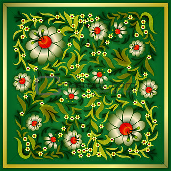 grunge floral ornament on green