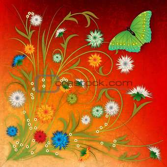 abstract grunge background with butterfly and flowers