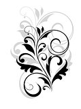 Floral motif in black and grey over white