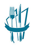 Knife, fork and napkin icon in blue