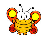 Fat butterfly cartoon illustration