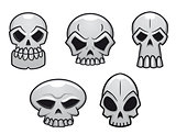 Different human skulls for halloween