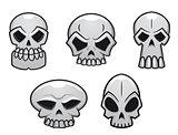 Different human skulls for halloween
