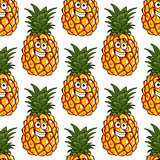 Seamless background pattern of pineapples fruits