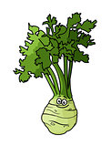 Cartoon celery with root