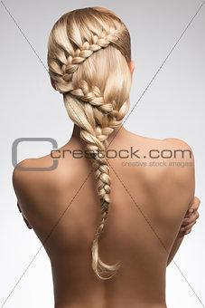 beauty girl turned on her back