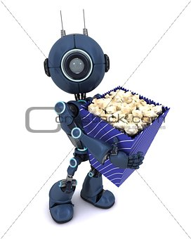 Android with popcorn