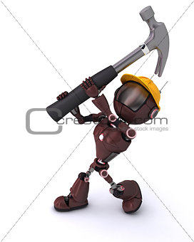Android with hammer