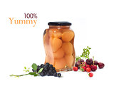 Pears in jar  with fruits isolated on white background