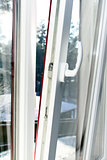 white plastic opened window