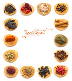 Collection of Spices and herbs white background