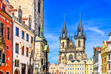 View of colorful Old town and clock tower in Prague