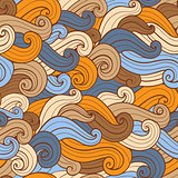 Hand drawn wavy seamless pattern