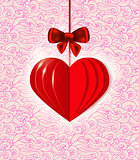 Background with red  paper heart
