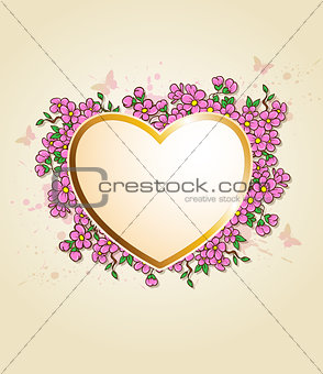 Card with heart and pink flowers