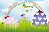 French Easter card with rainbow, eggs in green grass and ladybug