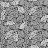 abstract foliage, leaf monochrome seamless background pattern